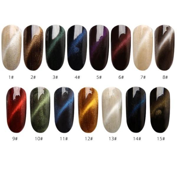 1 Set Vert N ° 10 de la Magie Magnétique, les Yeux de Chat de la Poudre de Poussière Pigment Acryliq - Photo n°4