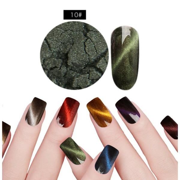 1 Set Vert N ° 10 de la Magie Magnétique, les Yeux de Chat de la Poudre de Poussière Pigment Acryliq - Photo n°1