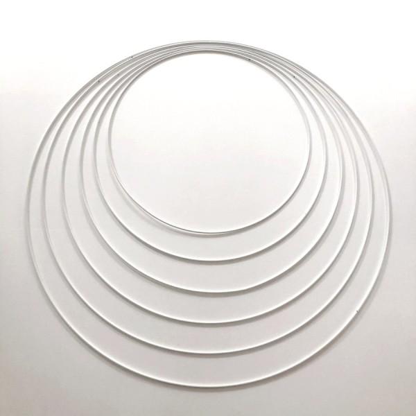 Lot 6 grands Cercles métal blanc Ø 35 cm à 60 cm, Anneaux en Epoxy pour Attrape rêves, abat-jour - Photo n°1