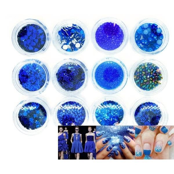 12 Couleurs Bleu Royal Mix Nail Art Paillettes Holographiques Chunky Kit de Cheveux, Manucure Maquil - Photo n°1