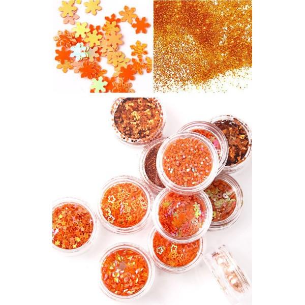 12 Couleurs Orange Mix Nail Art Paillettes Holographiques Chunky Kit de Cheveux, Manucure Maquillage - Photo n°2
