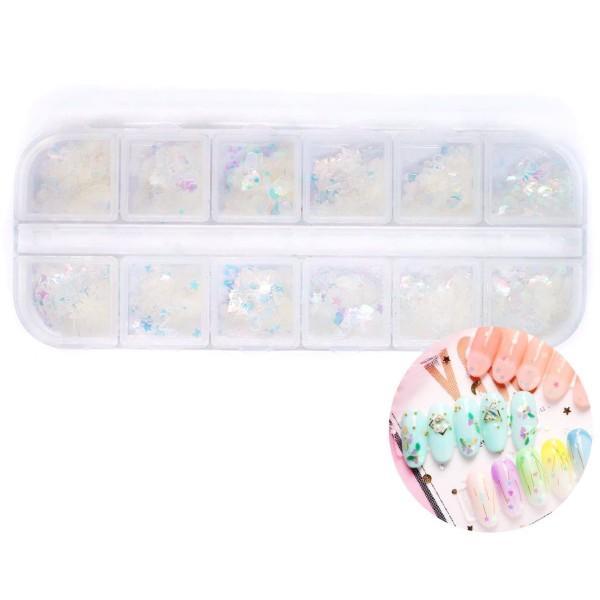 12 coloris Crystal AB Mix Nail Art Paillettes Holographiques Chunky Kit de Cheveux, Manucure Maquill - Photo n°1