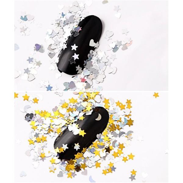 12 Couleurs de Mélange de Cœur des Étoiles de la Lune, Nail Art Paillettes Holographiques Chunky Kit - Photo n°4