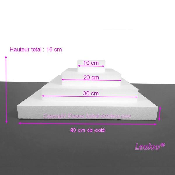 Pièce montée Carrée en polystyrène de 16 cm de haut, Base Coté 40cm à 10cm, 4 socles de 4cm de haut - Photo n°1