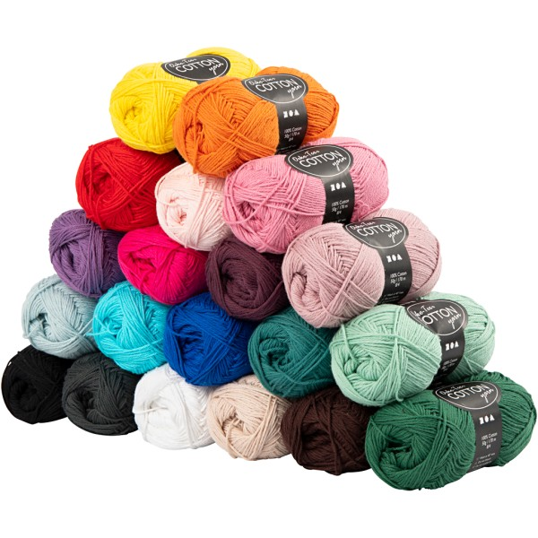 Assortiment de pelotes de fil de coton - 50 g - Oeko-Tex Cotton - 20 pcs - Photo n°1