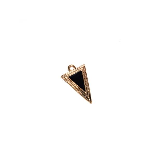 Triangle doré émaillé noir 25x15 mm - Photo n°1