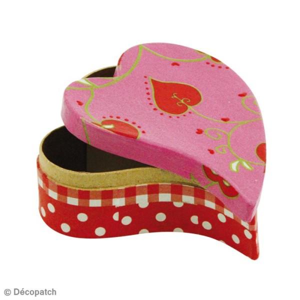 Lot de 2 boîtes coeur primitif en papier mâché 12 cm et 8 cm - Photo n°3