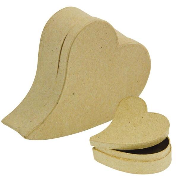 Lot de 2 boîtes coeur primitif en papier mâché 12 cm et 8 cm - Photo n°1