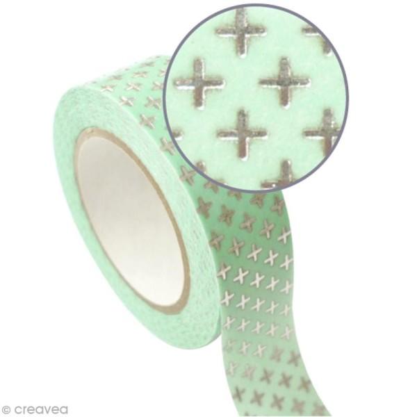 Masking tape métallisé - Croix - Argenté - 1,5 cm x 10 m - Photo n°1