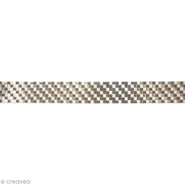 Masking tape métallisé - Damier - Argenté - 1,5 cm x 10 m - Photo n°2