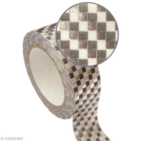 Masking tape métallisé - Damier - Argenté - 1,5 cm x 10 m - Photo n°1