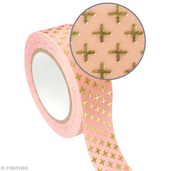 Masking tape métallisé - Croix - Doré - 1,5 cm x 10 m - Photo n°1