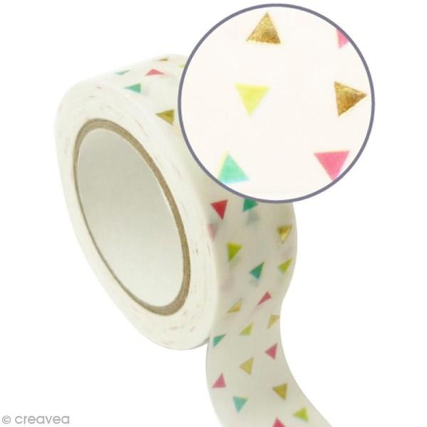 Masking tape métallisé - Triangles - Doré - 1,5 cm x 10 m - Photo n°1
