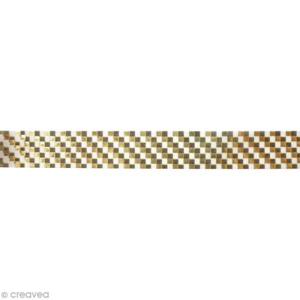 Masking tape métallisé - Damier - Doré - 1,5 cm x 10 m - Photo n°2