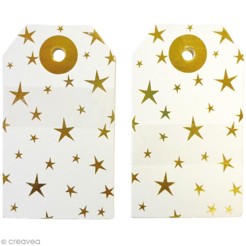 Etiquette cadeau en papier - Doré - 4,5 x 7,5 cm - 20 pcs - Photo n°2