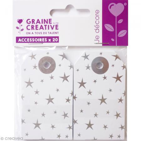 etiquette cadeau en papier argent 4 5 x 7 5 cm 20 pcs etiquette cadeau creavea. Black Bedroom Furniture Sets. Home Design Ideas