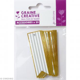 Etiquette cadeau en papier - Or & Argent - 2,1 x 7 cm - 20 pcs