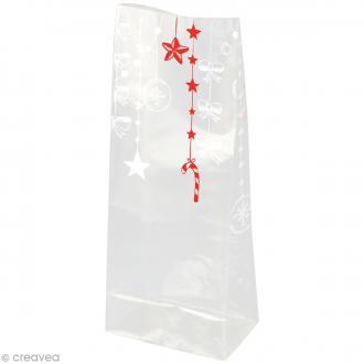 Kit Sachet cadeau Transparent Guirlandes - 12 x 22 x 5 cm - 12 pcs
