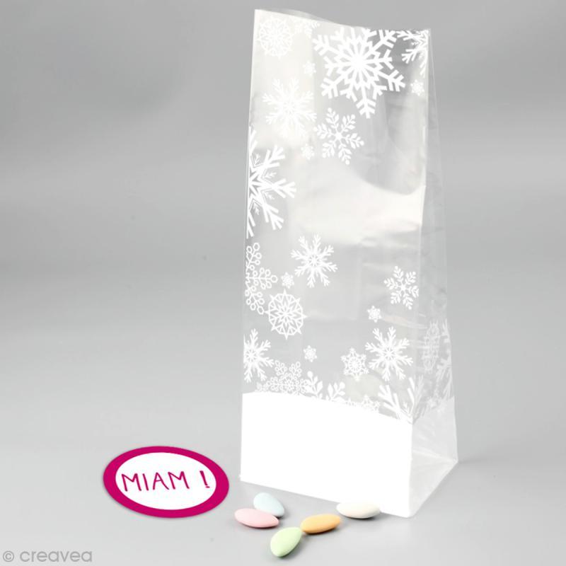 Kit Sachet cadeau Transparent Flocon - 12 x 22 x 5 cm - 12 pcs - Photo n°2
