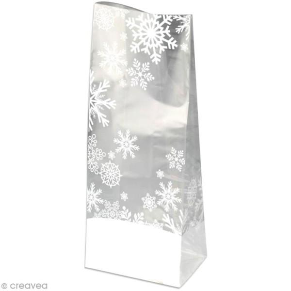 Kit Sachet cadeau Transparent Flocon - 12 x 22 x 5 cm - 12 pcs - Photo n°1