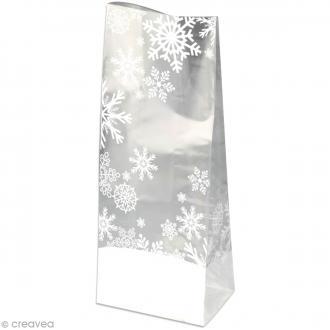 Kit Sachet cadeau Transparent Flocon - 12 x 22 x 5 cm - 12 pcs
