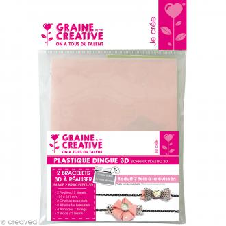 Kit plastique dingue - 2 Bracelets - Rose & Transparent