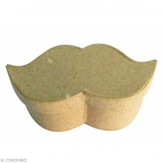 Petite boîte Moustache en papier mâché - 9 x 4,5 x 4 cm