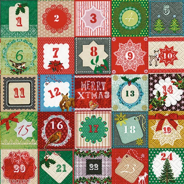 Serviette en papier - Noël - Calendrier de l'Avent - Photo n°1