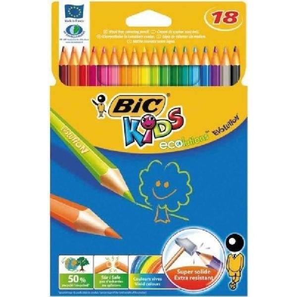Bic Ecolution Kids Evolution Boîte métal de 18 Crayons de couleur - Photo n°2