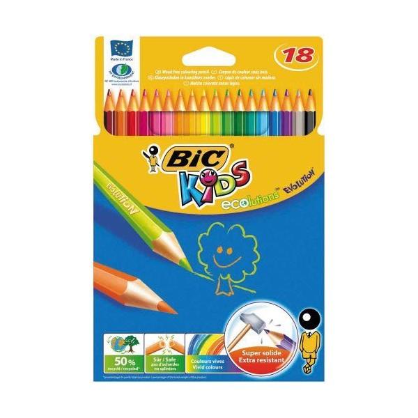 Bic Ecolution Kids Evolution Boîte métal de 18 Crayons de couleur - Photo n°1