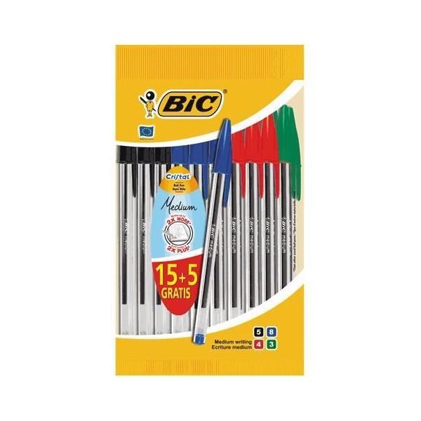 Pochette de 15 stylos billes BIC Cristal + 5 gratuits - Photo n°2