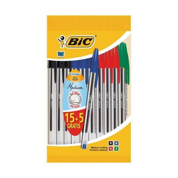 Pochette de 15 stylos billes BIC Cristal + 5 gratuits - Photo n°4
