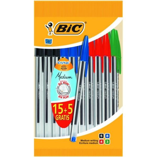Pochette de 15 stylos billes BIC Cristal + 5 gratuits - Photo n°1