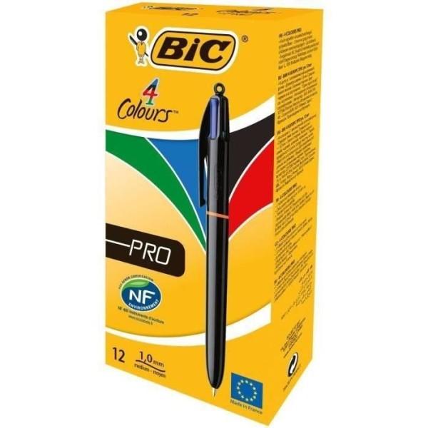 Bic 4 Colours Pro Stylo-Bille Gencodé Boîte de 12 Noir/Bleu/Rouge/Vert - Photo n°3