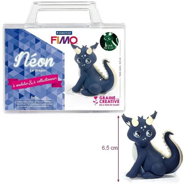 Kit figurine pâte Fimo, Néon Le Dragon, 4 pains Fimo et accessoires, 6,5 cm de haut, animal phosphor - Photo n°1