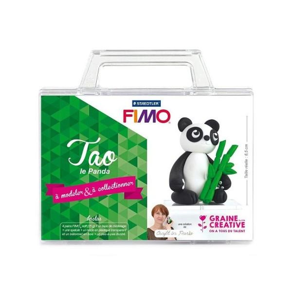 Kit figurine pâte Fimo, Tao Le Panda, 4 pains Fimo et accessoires, 6,5 cm de haut, animal à modeler - Photo n°2