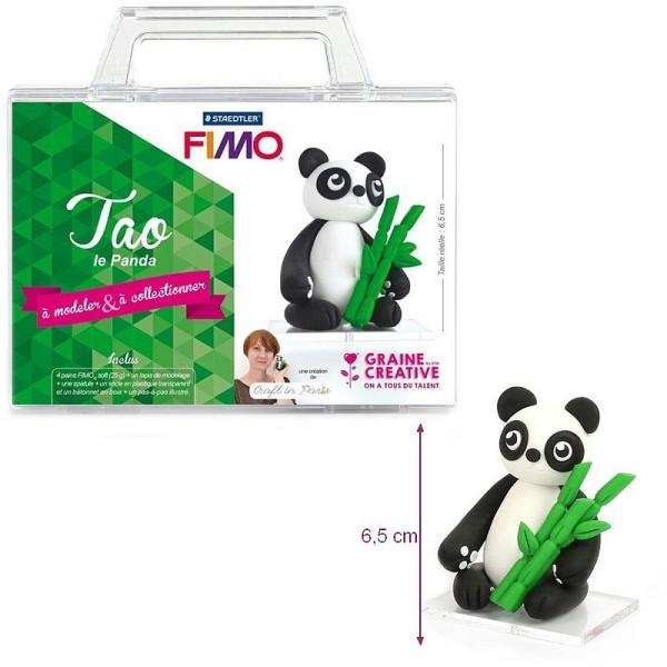 Kit figurine pâte Fimo, Tao Le Panda, 4 pains Fimo et accessoires, 6,5 cm de haut, animal à modeler - Photo n°1