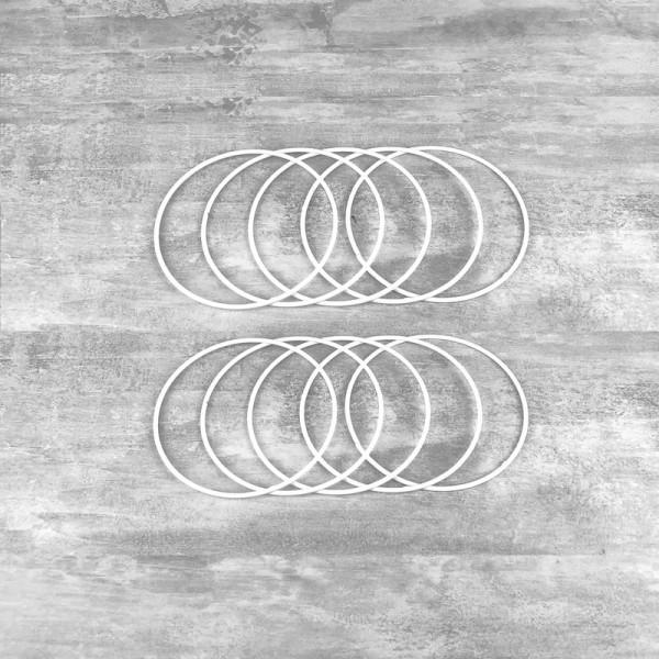 Gros Lot de 10 Cercles métalliques blanc diamètre 10 cm pour abat-jour, Anneaux en epoxy Attrape rêv - Photo n°1