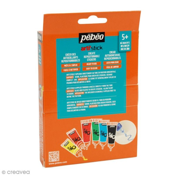Coffret de peinture pour stickers Arti'stick Pébéo - 6 x 20 ml - Photo n°2