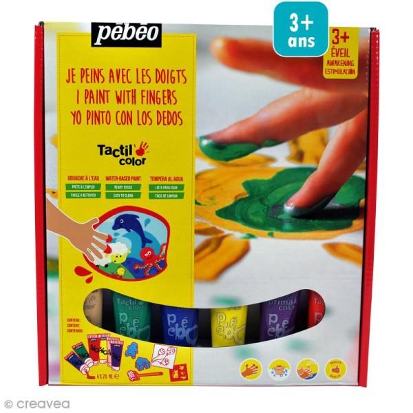 Kit de peinture aux doigts Pébéo - Prêt à l'emploi - 6 x 20 ml - Photo n°1