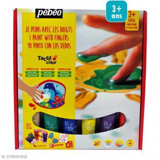 Kit de peinture aux doigts Pébéo - Prêt à l'emploi - 6 x 20 ml