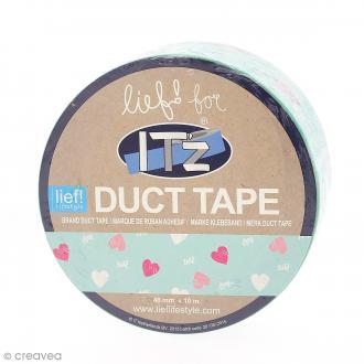 Duct Tape Lief Vert menthe et coeurs - 48 mm x 10 mètres