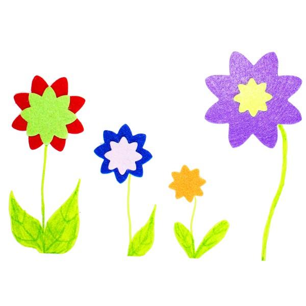 Formes en Feutrine adhésive - Fleurs - 150 pcs - Photo n°2