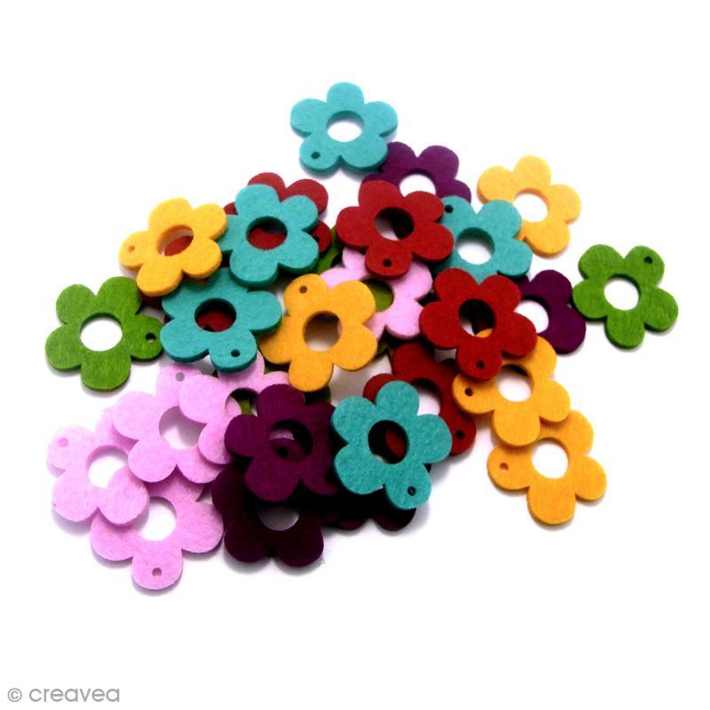 Formes en Feutrine - Fleurs - 30 pcs - Photo n°2