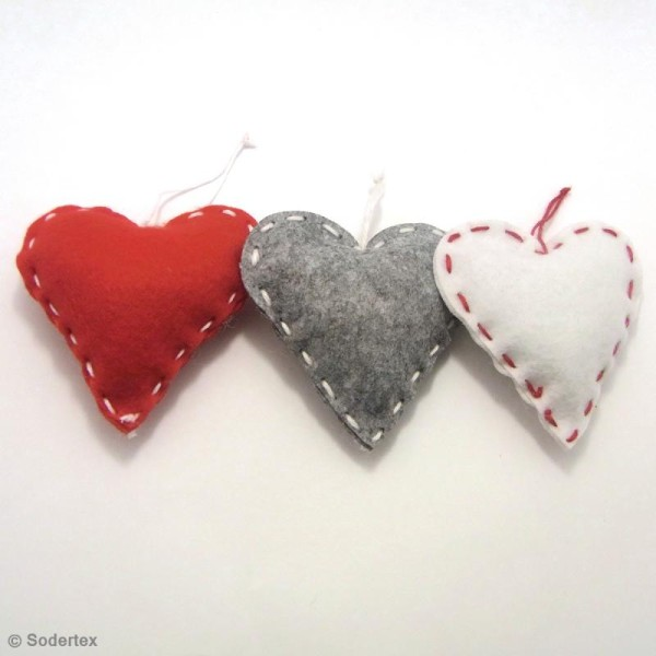 Kit de couture débutant - Coeurs en feutrine - Photo n°2