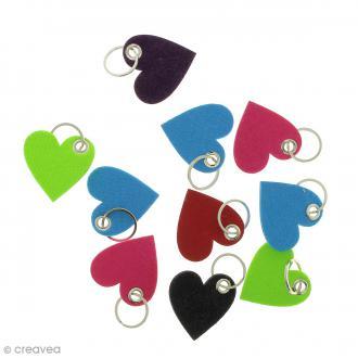 Assortiment de porte clés Coeurs en feutrine - 10 pcs