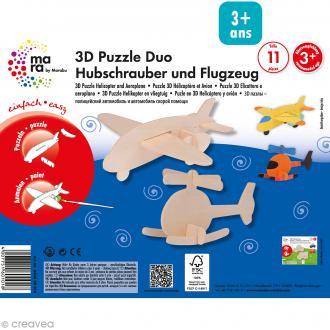 Puzzle en bois 3D Hélicoptère et avion - 11 pièces