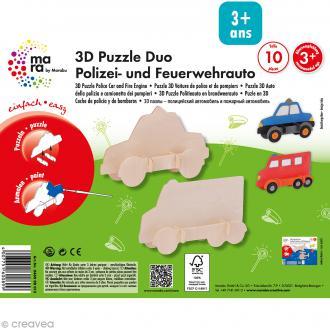 Puzzle en bois 3D Voiture de police et de pompiers - 10 pièces