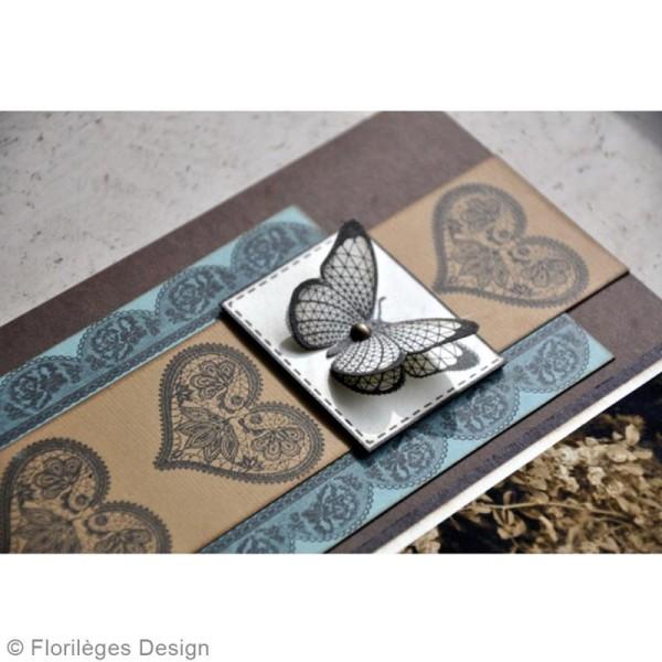 Tampon bois Coeur dentelle - 50 x 50 mm - Photo n°3
