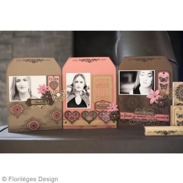 Tampon bois Coeur dentelle - 50 x 50 mm - Photo n°4